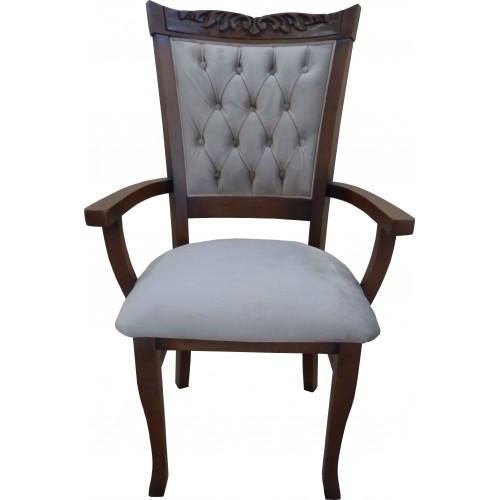 Cadeira Amadeus com Braço - Encosto Capitone/Assento Almofada Fixa