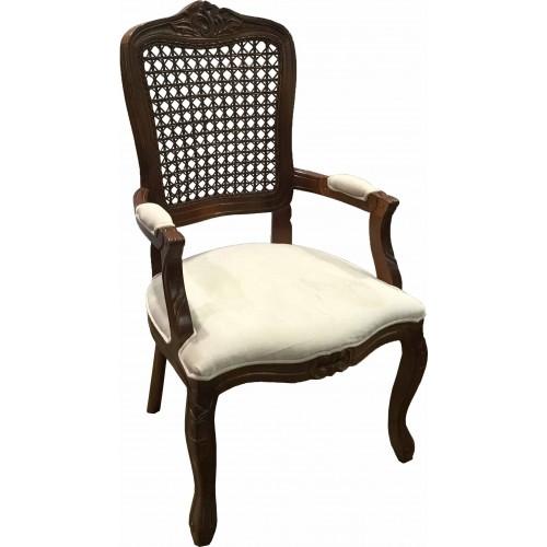 Cadeira Luis XV com Braço - Encosto Tela/Assento Fixo