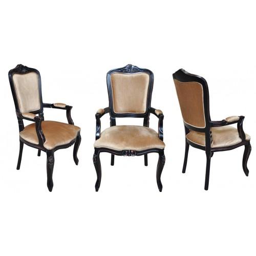 Cadeira Luis XV com Braço - Encosto Liso/Assento Fixo