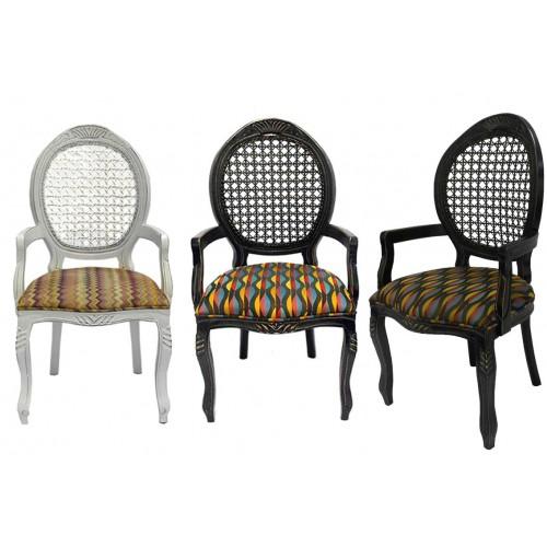 Cadeira Medalhão Entalhada com Braço - Encosto Tela/Assento Fixo