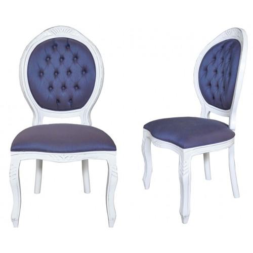 Cadeira Medalhão Entalhada sem Braço - Encosto Capitone/Assento Fixo
