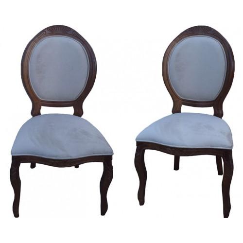 Cadeira Medalhão Entalhada sem Braço - Encosto Liso/Assento Fixo