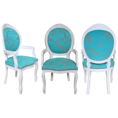 Cadeira Medalhão Entalhada com Braço - Encosto Liso/Assento Fixo