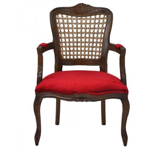 Poltrona Luis XV Entalhada - Encosto Tela/Assento Almofada Fixa